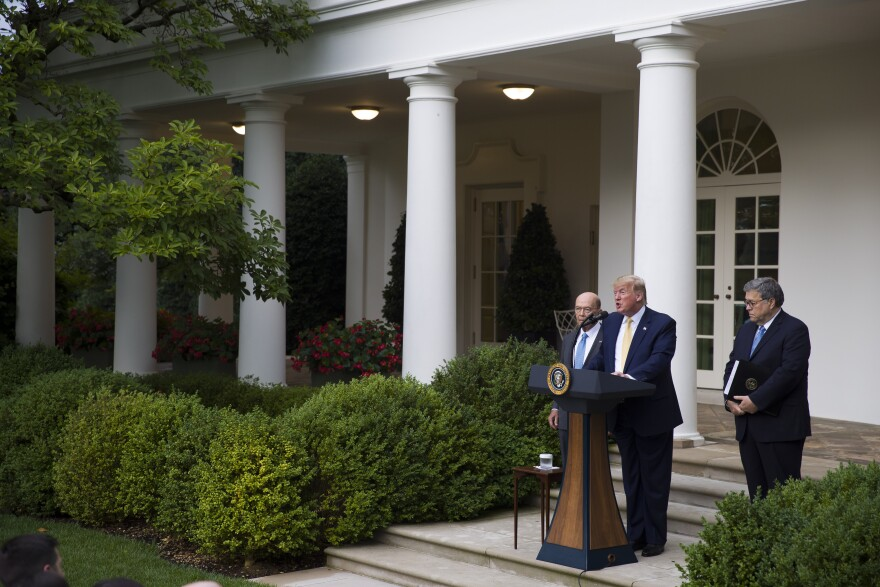 South Dakota has agreed to share driver's license and state ID records with the Census Bureau as part of efforts to carry out the executive order for citizenship data that President Trump announced last July with Commerce Secretary Wilbur Ross (left) and U.S. Attorney General William Barr in the Rose Garden of the White House in Washington, D.C.