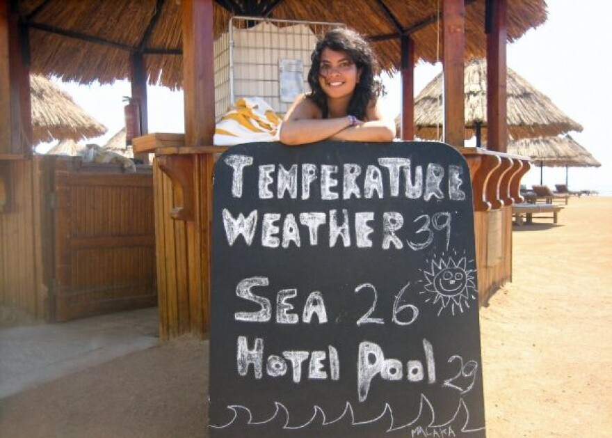 """The author recently posted this photo of her last trip to Sharm el-Sheikh, back in 2009, on the """"Fight For Sharm"""" Facebook page."""