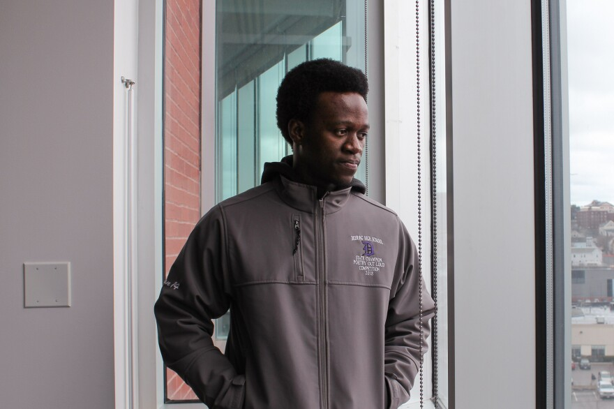 High School Junior Allan Monga of Portland, Maine, is suing the National Endowment for the Arts to be allowed to compete in the Poetry Out Loud national finals.
