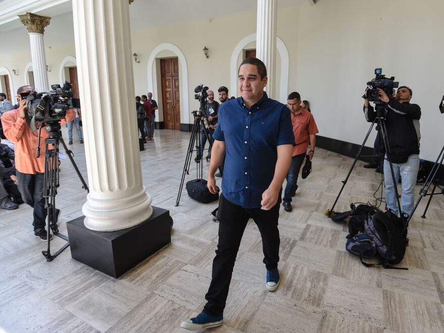 Venezuelan Constituent Assembly's member Nicolás Maduro Guerra, son of Venezulan President Nicolas Maduro, walks before a session in Caracas on August 8, 2017. The U.S. government targeted the younger Maduro with sanctions on Friday.