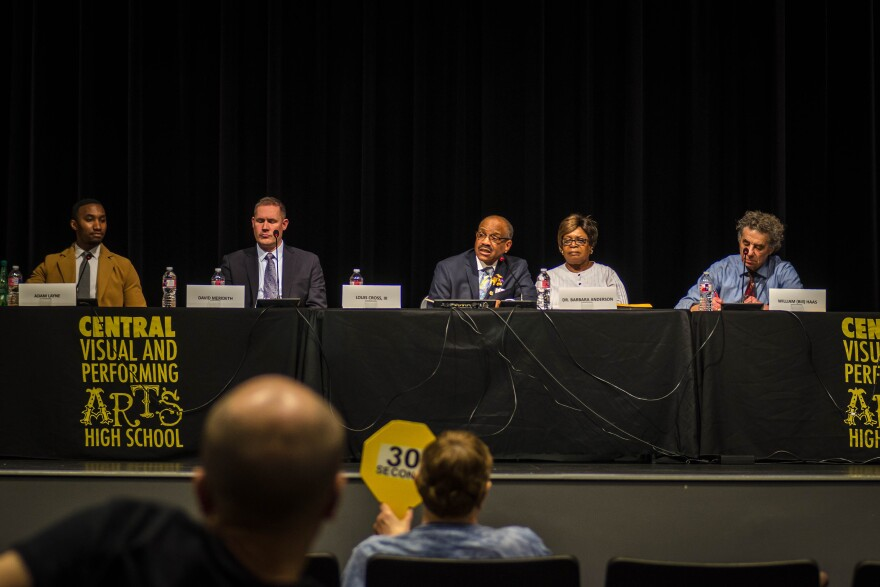 Five of the seven candidates for the St. Louis school board answered questions at a forum Wednesday evening, March 13, 2019.
