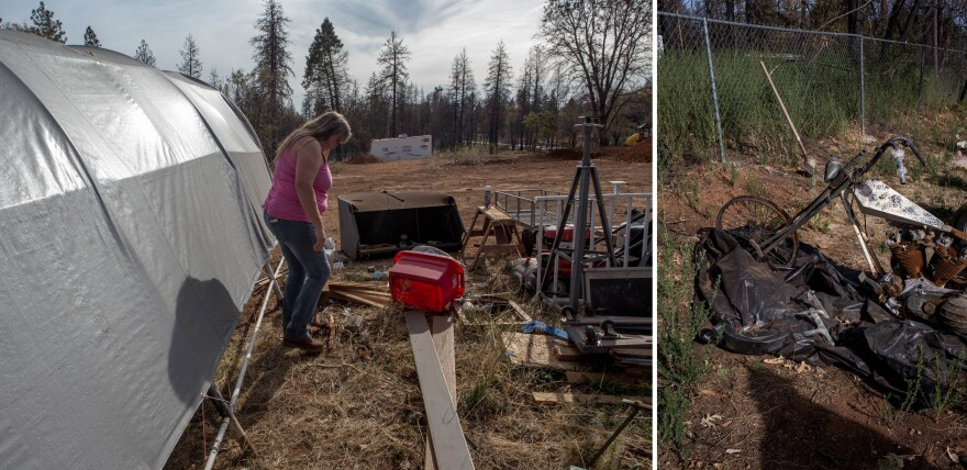 "Karen Roberds lost her home and many personal possessions in the Camp Fire, including her motorcycles. ""The biggest thing that we got out of here when we left was our next-door neighbor's dog. It was the Harley-Davidsons or the dog, "" she says. ""No-brainer."" She still lives on the property and recently had a modular home installed."