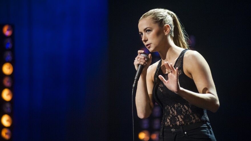 Comedian Iliza Shlesinger's comedy is physical — she contorts, snorts and stalks the stage in her new special, <em>Confirmed Kills.</em>