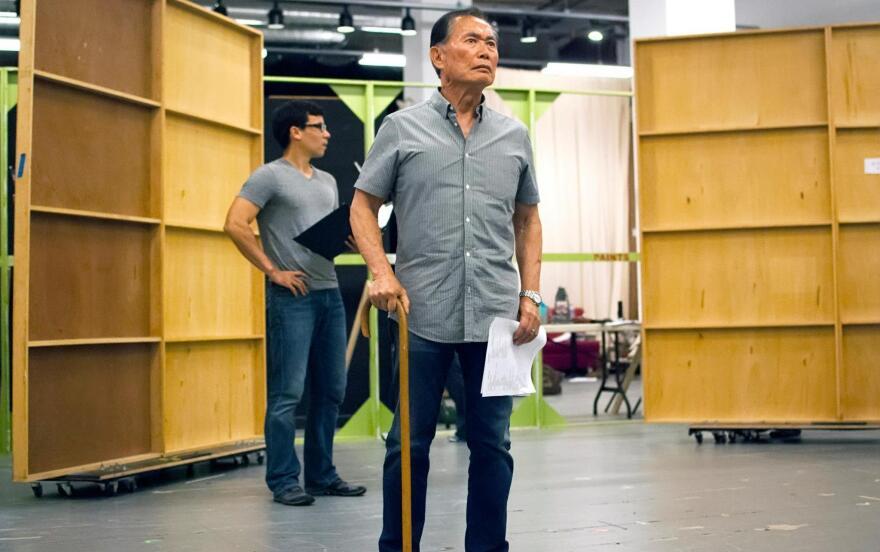 George Takei rehearses a scene from <em>Allegiance</em>, a new musical inspired by Takei's childhood in Japanese-American internment camps during World War II.