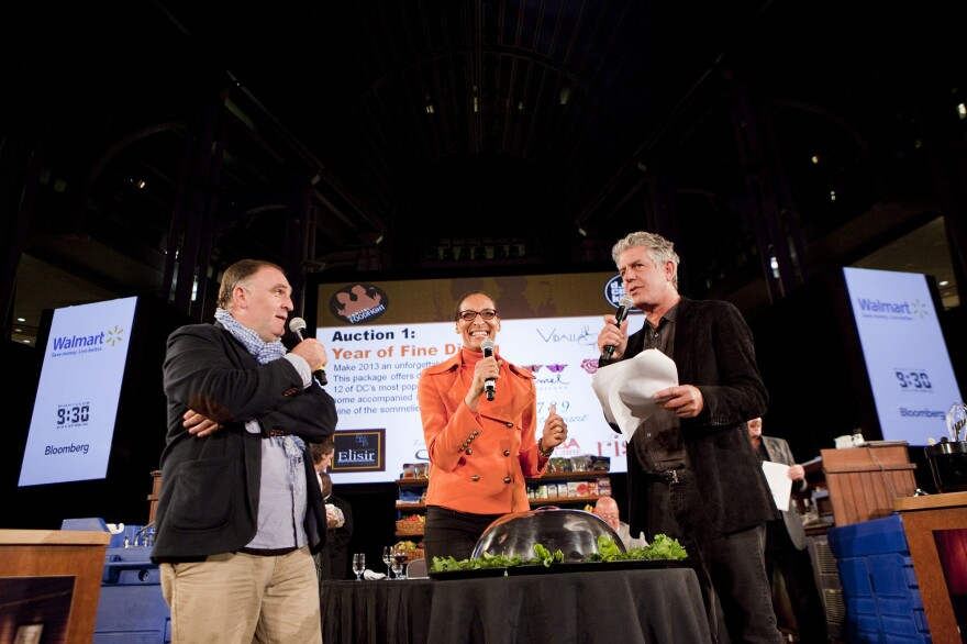 Celebrity chefs (from left) Jose Andres, Carla Hall and Anthony Bourdain rev up the crowd at last year's Capital Food Fight fundraising event for DC Central Kitchen. The nonprofit's fortunes have risen alongside those of its celebrity chef fans.
