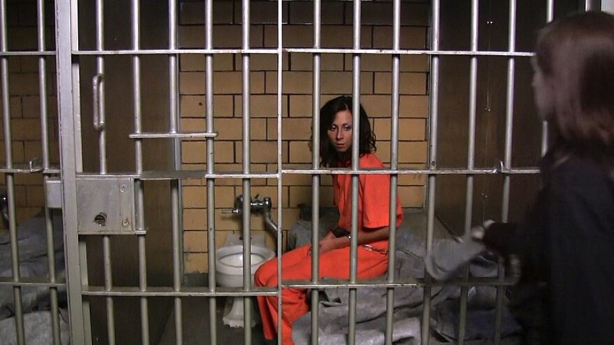 A female prisoner living inside her tiny prison cell. The cell provides the inmate with a toilet and a bed, as well as bars to protect her from the outside elements. The cell is designed for the comfort and benefit of the prisoner as well as the public.