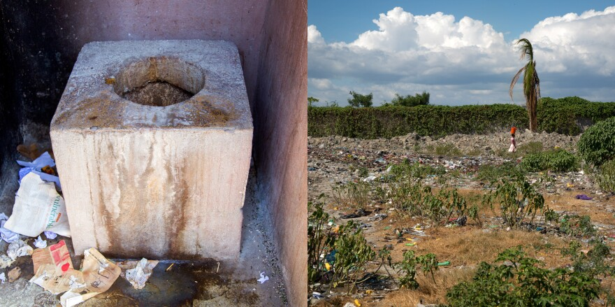 Two options for relieving oneself in Project Drouillard: a pit latrine and an open field bordering a canal filled with human waste.