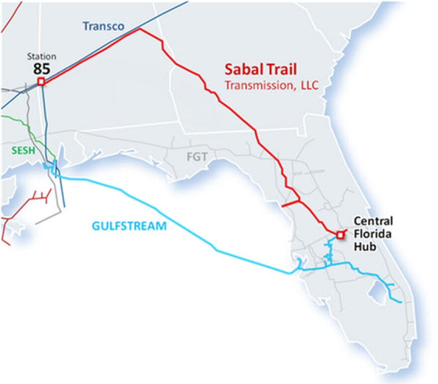 A map of the Sabal Trail Pipeline route from Alabama to Central Florida.