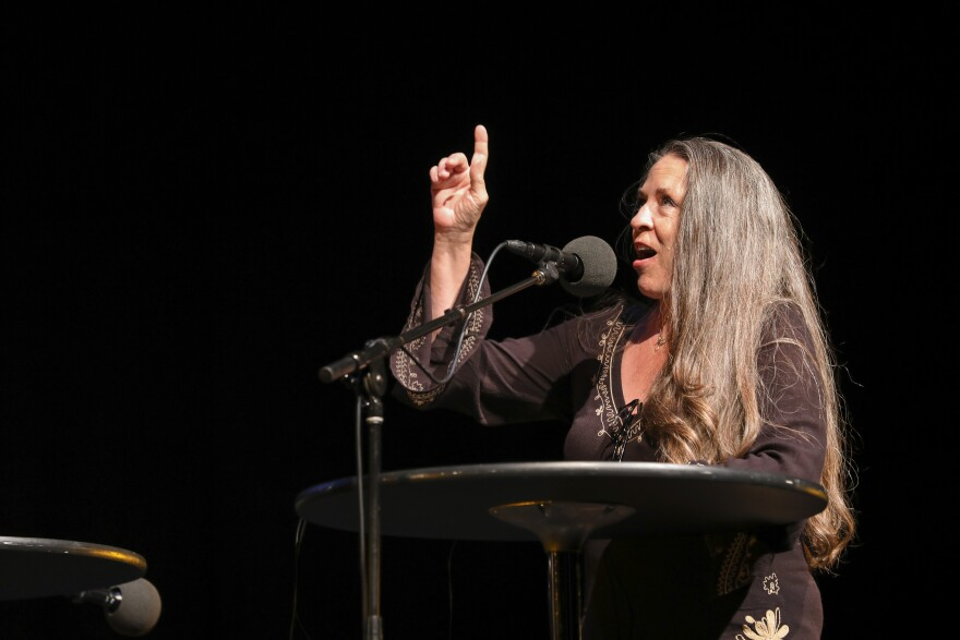 Carlene Carter appears on <em>Ask Me Another</em> at TPAC's Polk Theater in Nashville, Tennessee.