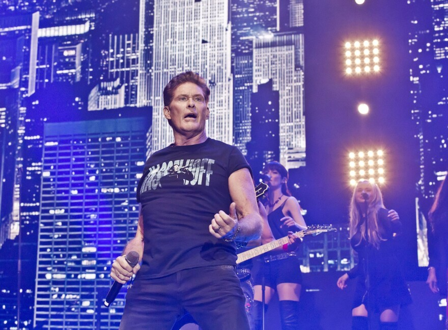 """David Hasselhoff performs during a concert in Berlin on Oct. 3 — Germany Unity Day. In 1989, his song """"Looking for Freedom"""" was the anthem to many Germans' newfound freedom."""