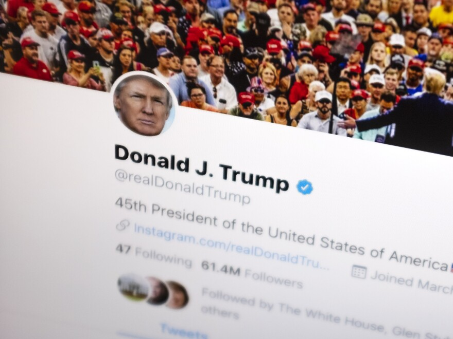 On Tuesday, a federal appeals court upheld a lower court's ruling that President Trump cannot block people he disagrees with from his Twitter account. Above, Trump's Twitter feed is seen on June 27.