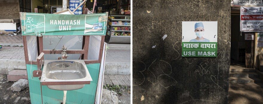 India wins praise for its pandemic precautions. Left: A handwashing unit on a city street in Palghar. Right: A sign promoting masks.