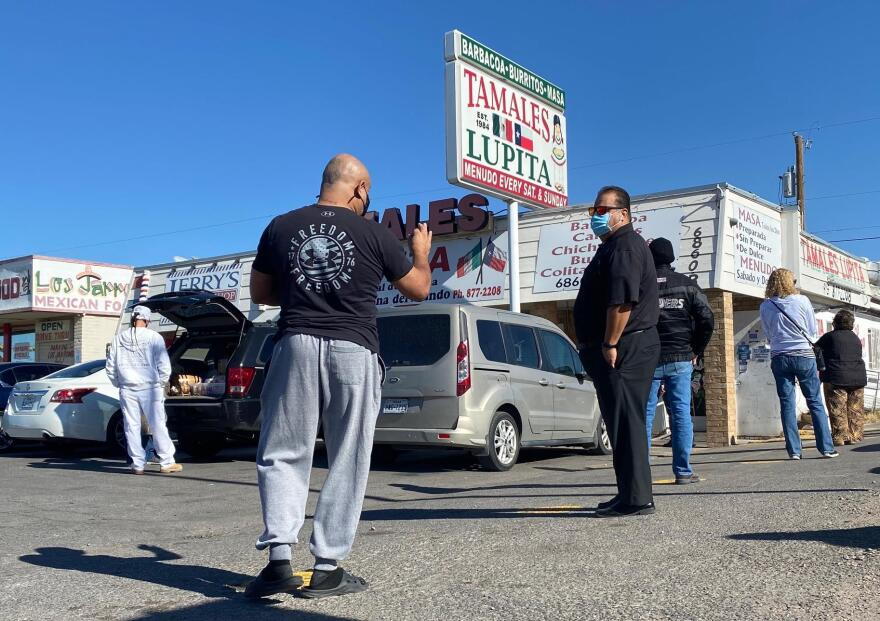 Customers line up outside Lupita's Tamales in El Paso. The restaurant has been making tamales for 35 years.