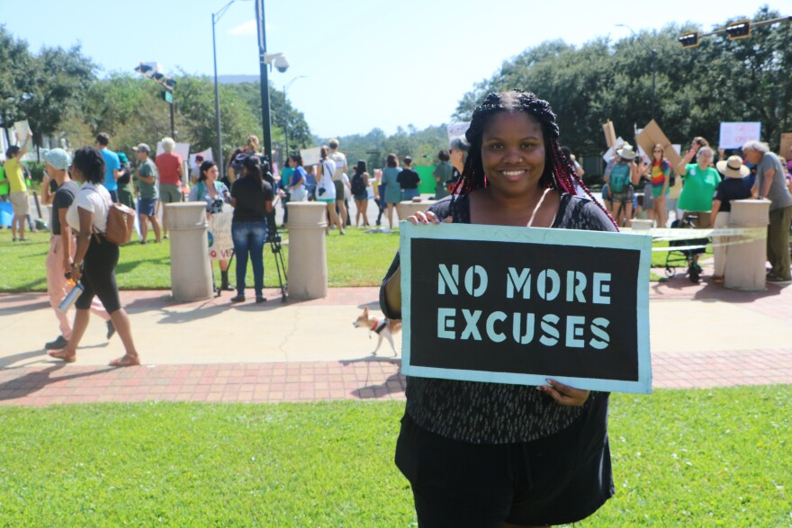 Adreenah Wynn says she came to the rally to represent people of color in the climate change movement.