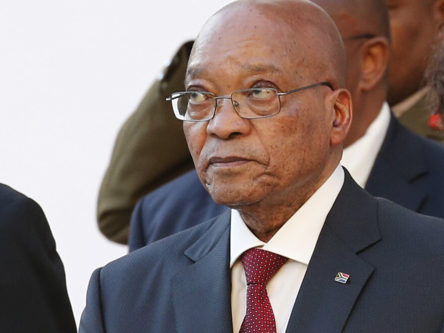 President Jacob Zuma arrives at Parliament in Cape Town, South Africa, for the State Of The Nation address in February.