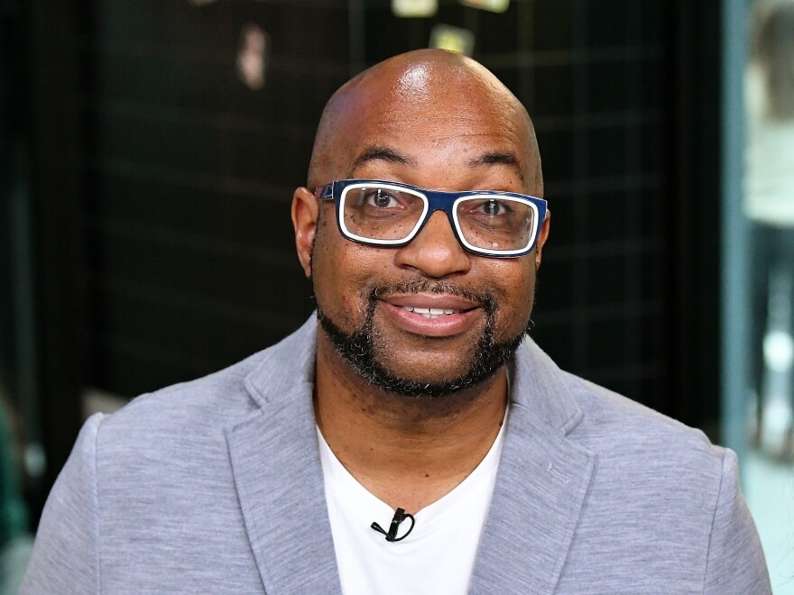 <em>Morning Edition</em> poet in residence Kwame Alexander on Oct. 23, 2018 in New York City.