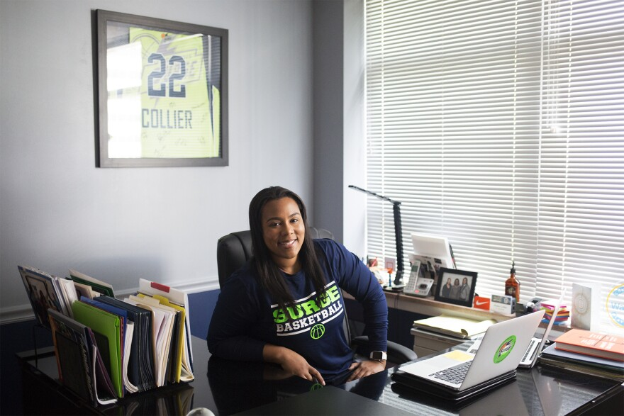 Khalia Collier in her office at the St. Louis Surge. Collier is owner and general manager of the women's basketball team.