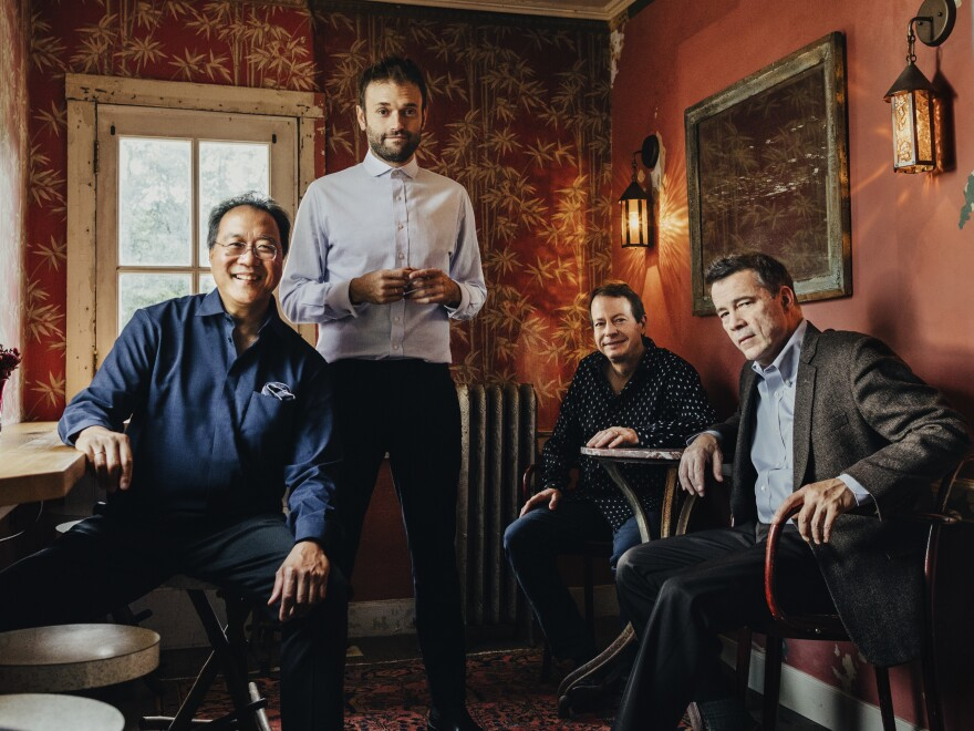 """The musicians on """"Not Our First Goat Rodeo"""", from left to right: Yo-Yo Ma, Chris Thile, Stuart Duncan and Edgar Meyer."""