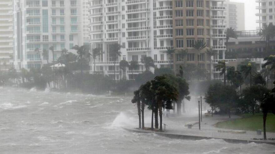 A $4.6 billion plan by the U.S. Army Corps of Engineers would help protect areas around Biscayne Bay from hurricane storm surge, like this flooding during Irma.