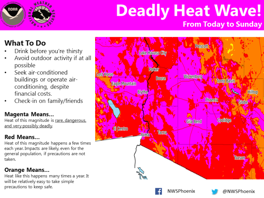 Meteorologists have issued an excessive heat warning for Phoenix and other parts of Arizona until Sunday evening.