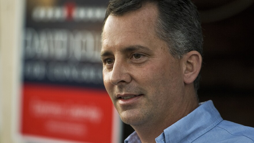 Republican David Jolly thanks supporters during a campaign rally in Indian Rocks Beach, Fla.