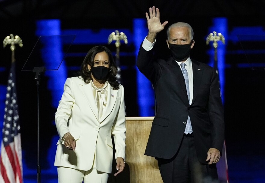 President-elect Joe Biden and Vice President-elect Kamala Harris, seen after addressing the nation Saturday evening, have launched their official transition website.