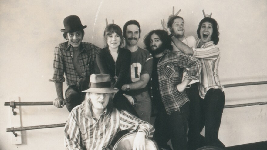 Lampooners Garry Goodrow, Alice Peyton, Christopher Guest, John Belushi, Peter Elbling, Chevy Chase and Tony Hendra in this undated photo from <em>Drunk Stoned Brilliant Dead</em>.