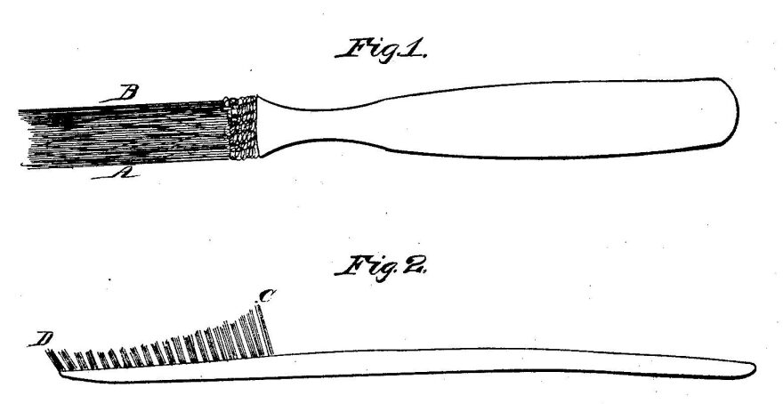 A drawing from H.N. Wadsworth's 1857 toothbrush patent. Wadsworth's toothbrush was the first to be patented in the U.S.