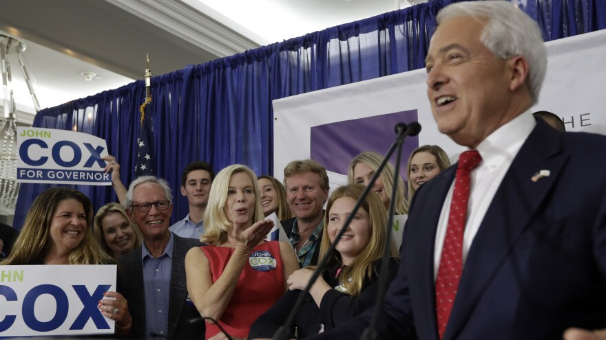 Republican gubernatorial candidate John Cox speaks to supporters in San Diego on Tuesday. He advanced to the general election against Democrat Gavin Newsom, giving the GOP a foothold in a top statewide race.