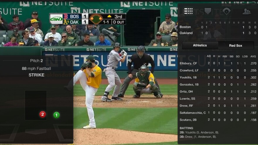 The iPad version of MLB At Bat app enables fans to connect with their favorite baseball teams when they're on the go.