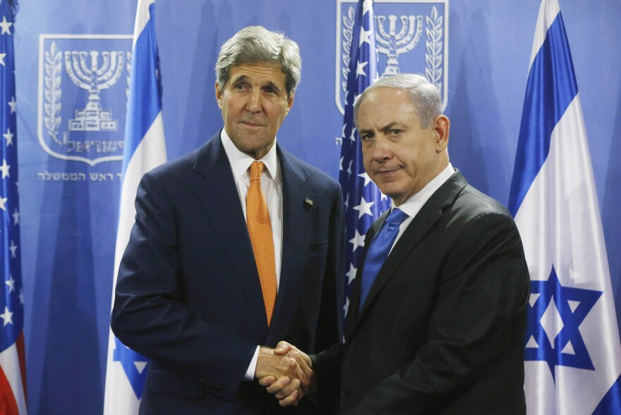 U.S. Secretary of State John Kerry shakes hands with Israeli Prime Minister Benjamin Netanyahu in Tel Aviv on July 23. While the two countries are close allies, they have exchanged criticism during the recent Israel-Hamas fighting in Gaza.