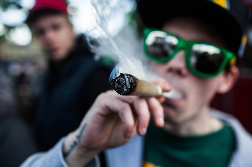 A smoker takes a puff at the annual Global Marijuana March in Copenhagen in May 2013.