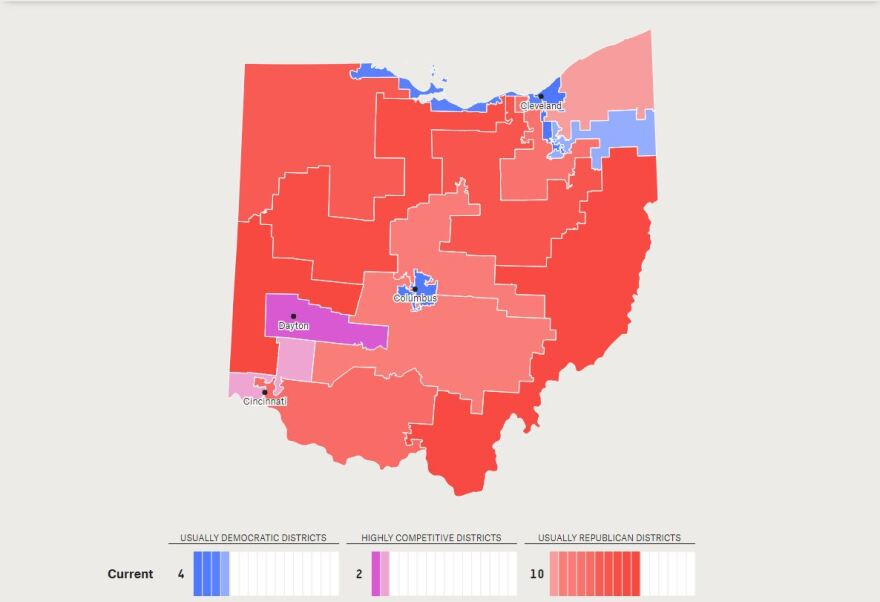 photo of current Ohio Congressional map