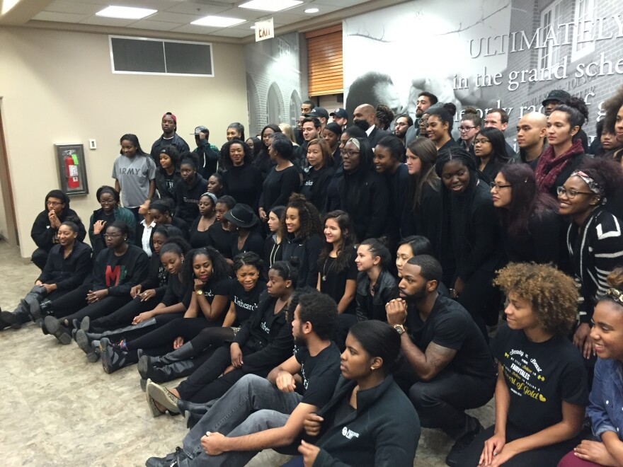 The University of Oklahoma student group Unheard, an alliance of black students organized for change within campus administration and atmosphere, gathers to show solidarity with Mizzou students at a meeting last Thursday.
