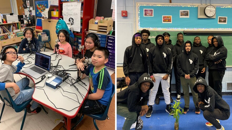 Members (left) of the Dragon Kids Podcast Club at PS 126/Manhattan Academy of Technology in New York City, and members (right) of the Men in Color after-school club at the High School for Innovation in Advertising and Media, also in New York.