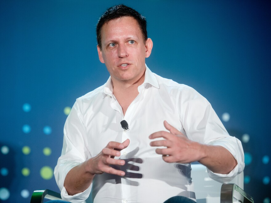 """While much of Silicon Valley has supported Hillary Clinton, billionaire investor Peter Thiel is backing Donald Trump. """"We're voting for Trump because we judge the leadership of our country to have failed,"""" Thiel says."""