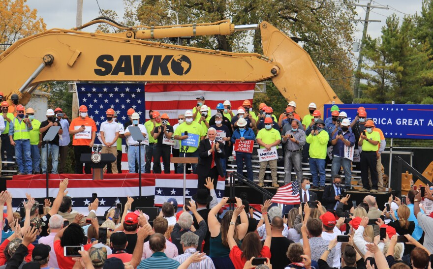 Vice President Mike Pence greets supporters during a campaign rally at Savko and Sons Monday.