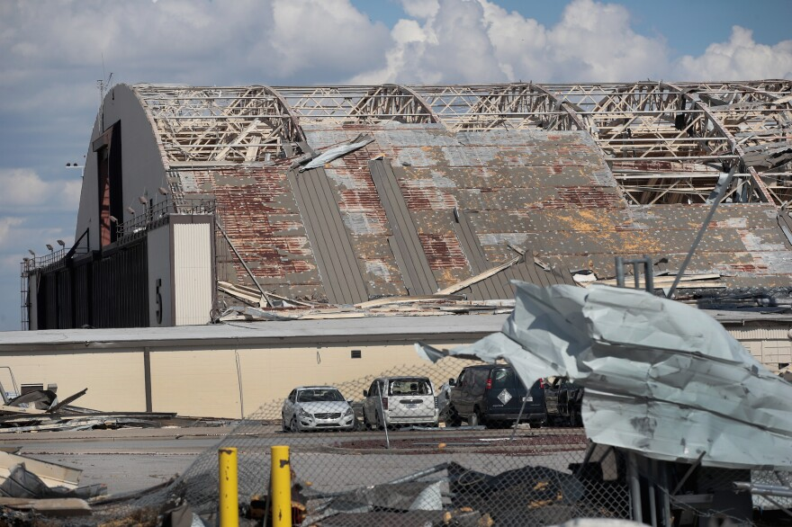 Debris litters Tyndall Air Force Base, which was severely damaged after Hurricane Michael.