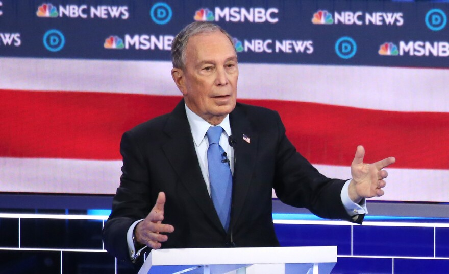 Former New York City Mayor Michael Bloomberg speaks during the Democratic presidential debate in Las Vegas on Wednesday night.