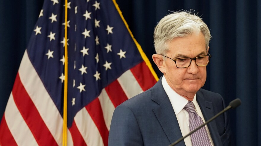 "The Federal Reserve says ""it has become clear that our economy will face severe disruptions"" because of the coronavirus pandemic. Here, Chairman Jerome Powell is seen as the Fed cut interest rates earlier this month."