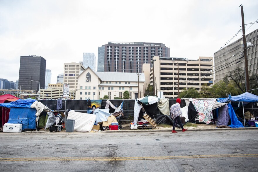 A homeless encampment near the ARCH in downtown Austin.