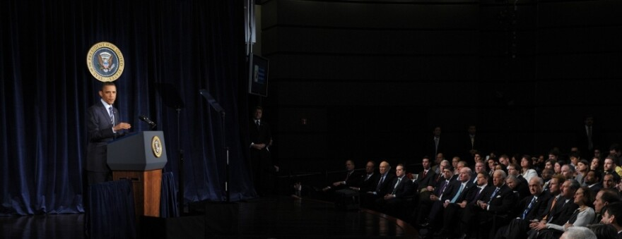 President Barack Obama unveils his plan for the nation's future fiscal policy at George Washington University in Washington, D.C.