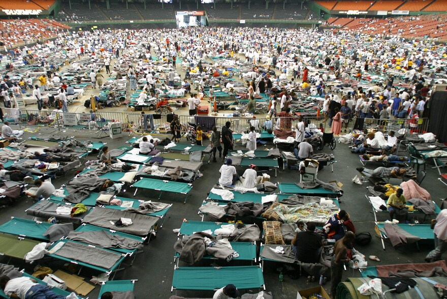 New Orleans evacuees of Hurricane Katrina were relocated to the Astrodome in Houston, shown here on Sept. 1, 2005.
