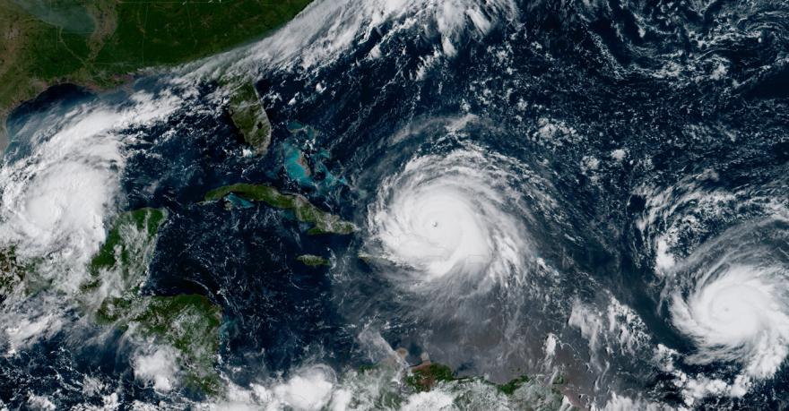 Photo showing Hurricanes Katia, Irma, and Jose