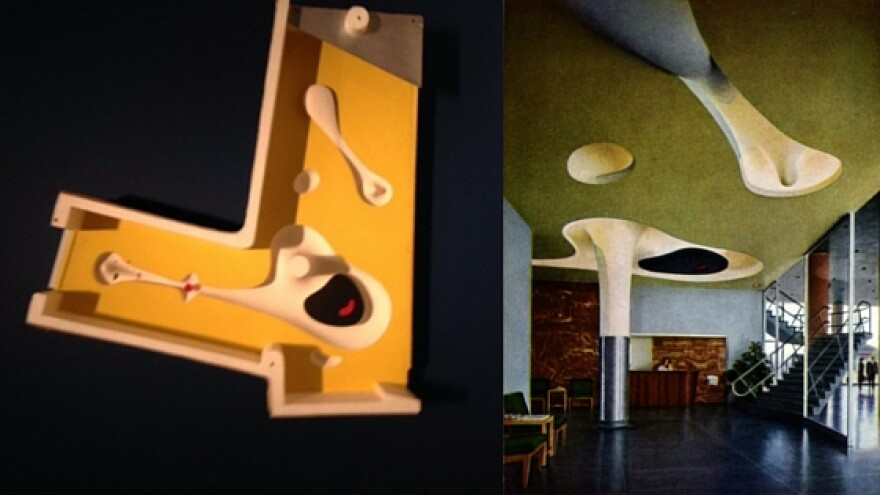 """A maquette of Isamu Noguchi's sculptured ceiling for the Magic Chef building from the """"St. Louis Modern"""" exhibit at St. Louis Art Museum. A photo of the original interior of the building, courtesy of the Harris Armstrong Collection, University Archives"""