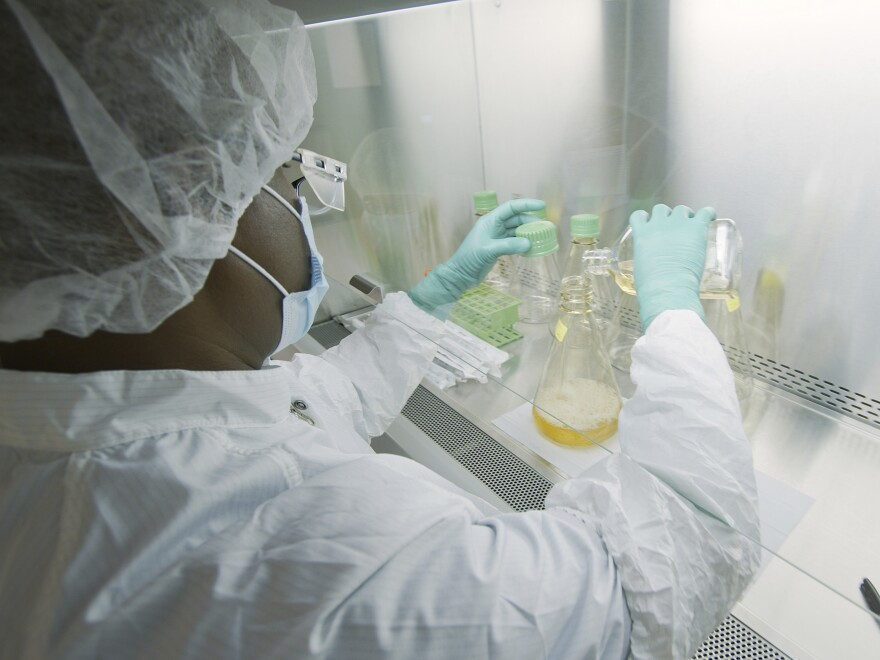 An Eli Lilly researcher tests possible COVID-19 antibodies in a company laboratory in Indianapolis.