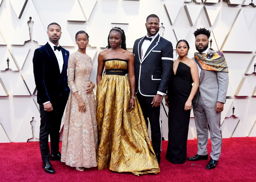(Left to right) Michael B. Jordan, Letitia Wright, Danai Gurira and Winston Duke