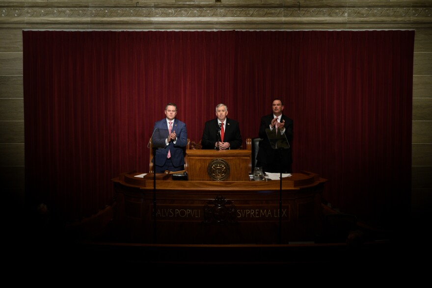 Gov. Mike Parson addresses the Missouri General Assembly during the State of the State Address held January 15, 2020.