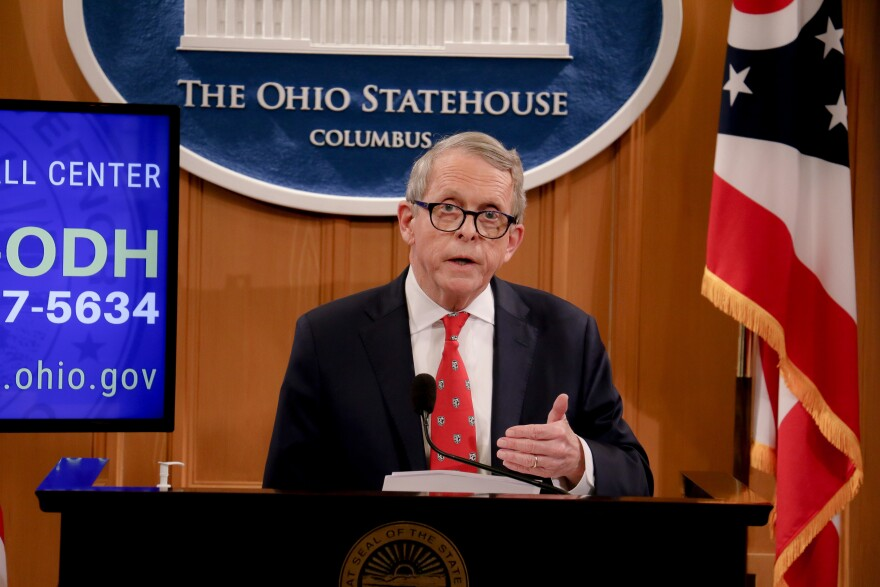 Ohio Gov. Mike DeWine during one of his daily coronavirus briefings.