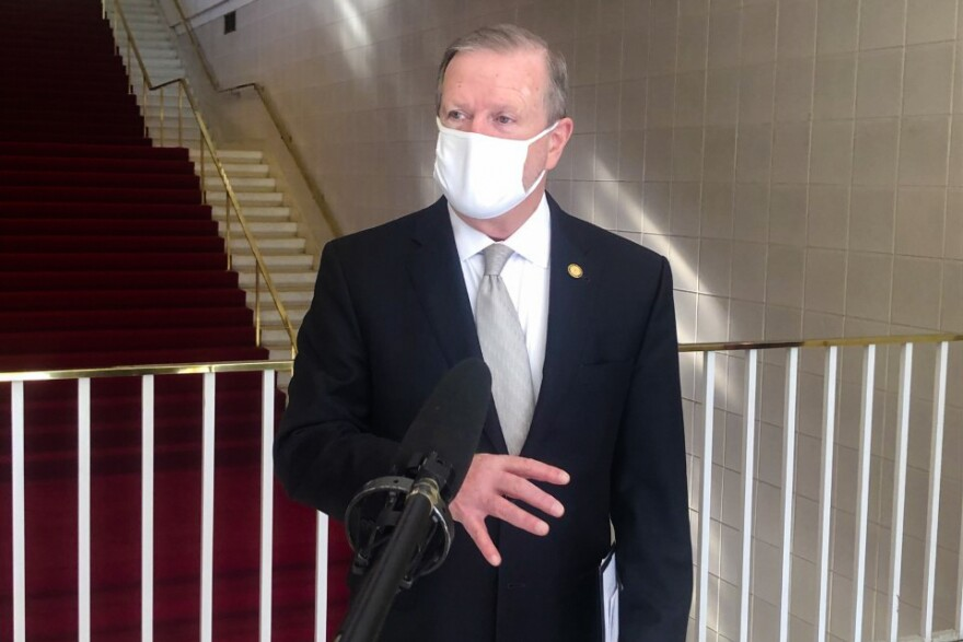 Republican North Carolina Senator Phil Berger, pictured here on Jan. 13, has once again been elected as President Pro Tem. He told reporters that lawmakers would likely take up COVID relief legislation soon to allocate funds recently approved by Congress.
